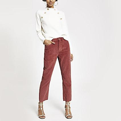 Rust corduroy straight leg denim jeans