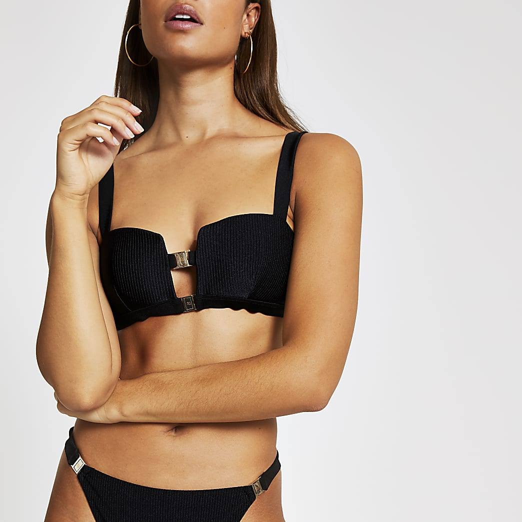 Haut de bikini caraco côtelé noir à deux clips