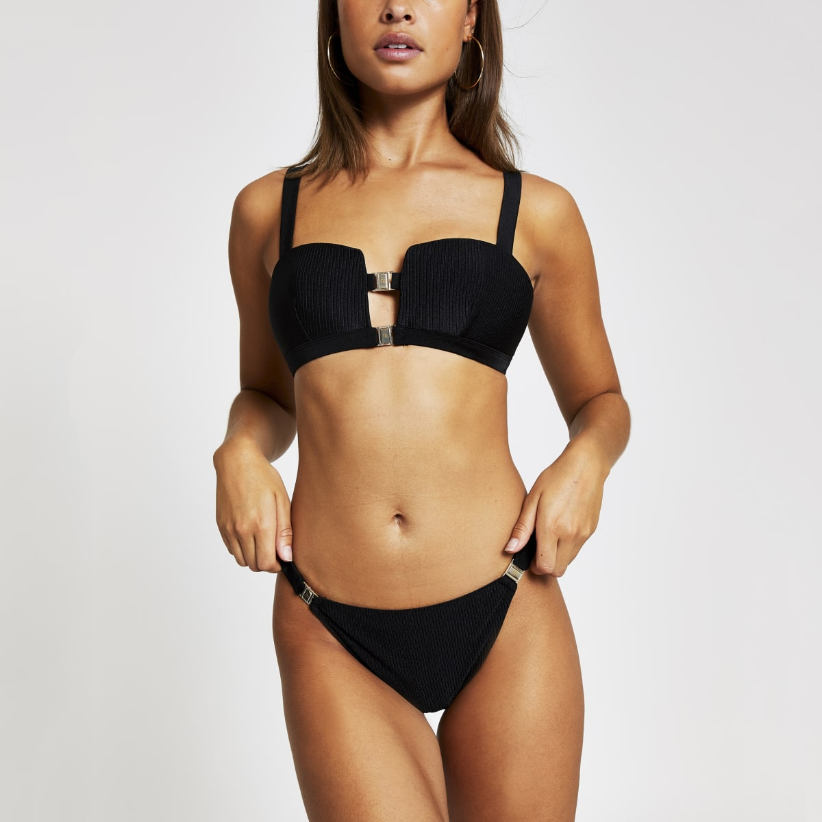 Black rib high leg bikini bottoms