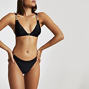 2706c933e71609 Black printed plunge swimsuit · Black clip front triangle bikini top