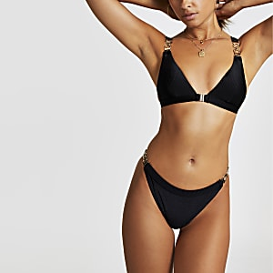 Bas de bikini échancré noir
