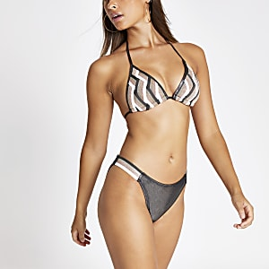 Roze elastisch bikinibroekje met zigzag-print