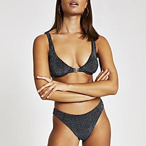 Bikinihose in Silber-Metallic mit hohem Beinausschnitt