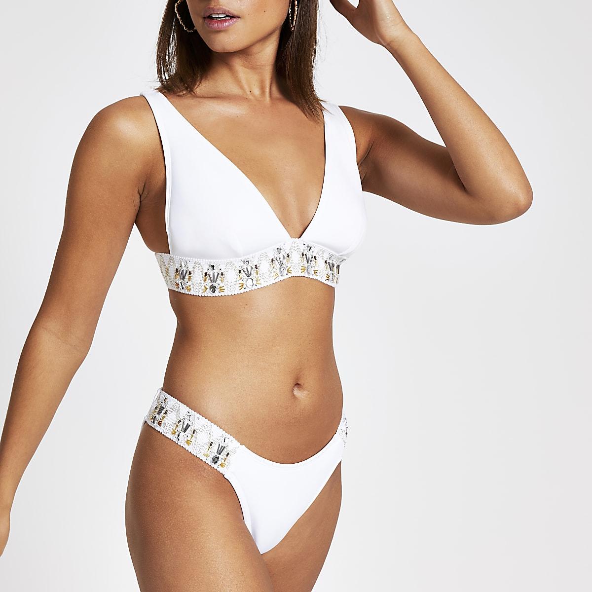 045467d19d5 White embellished high leg bikini bottoms - Bikini Bottoms - Bikinis -  Swimwear & Beachwear - women