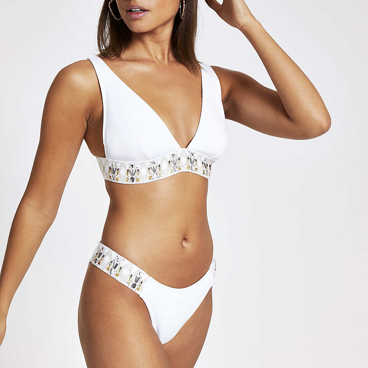 White embellished high leg bikini bottoms