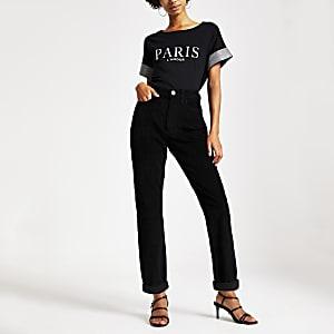 Schwarze Mom-Jeans aus Cord