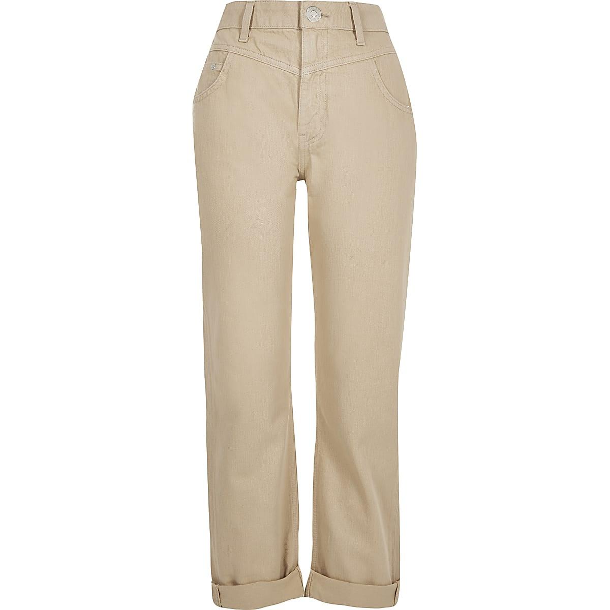 design distinctif qualité de la marque meilleur prix Beige Mom high rise jeans