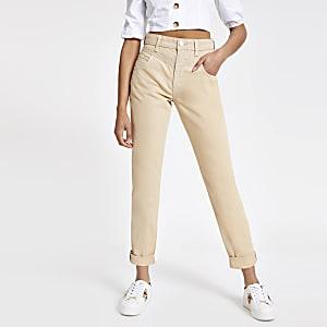 Beige Mom-Jeans mit hohem Bund