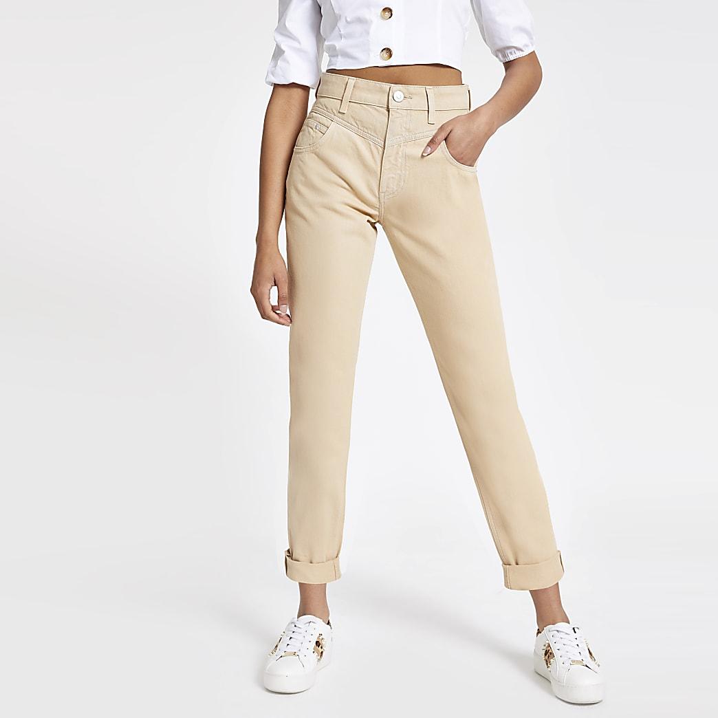 Bruine mom jeans met hoge taille