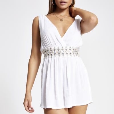 White embellished plunge playsuit