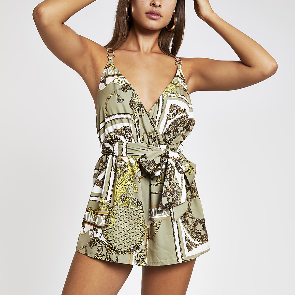 Khaki printed cami playsuit