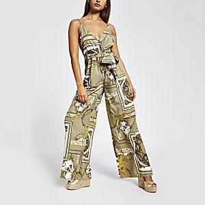 Kaki jumpsuit met print en wijde pijpen