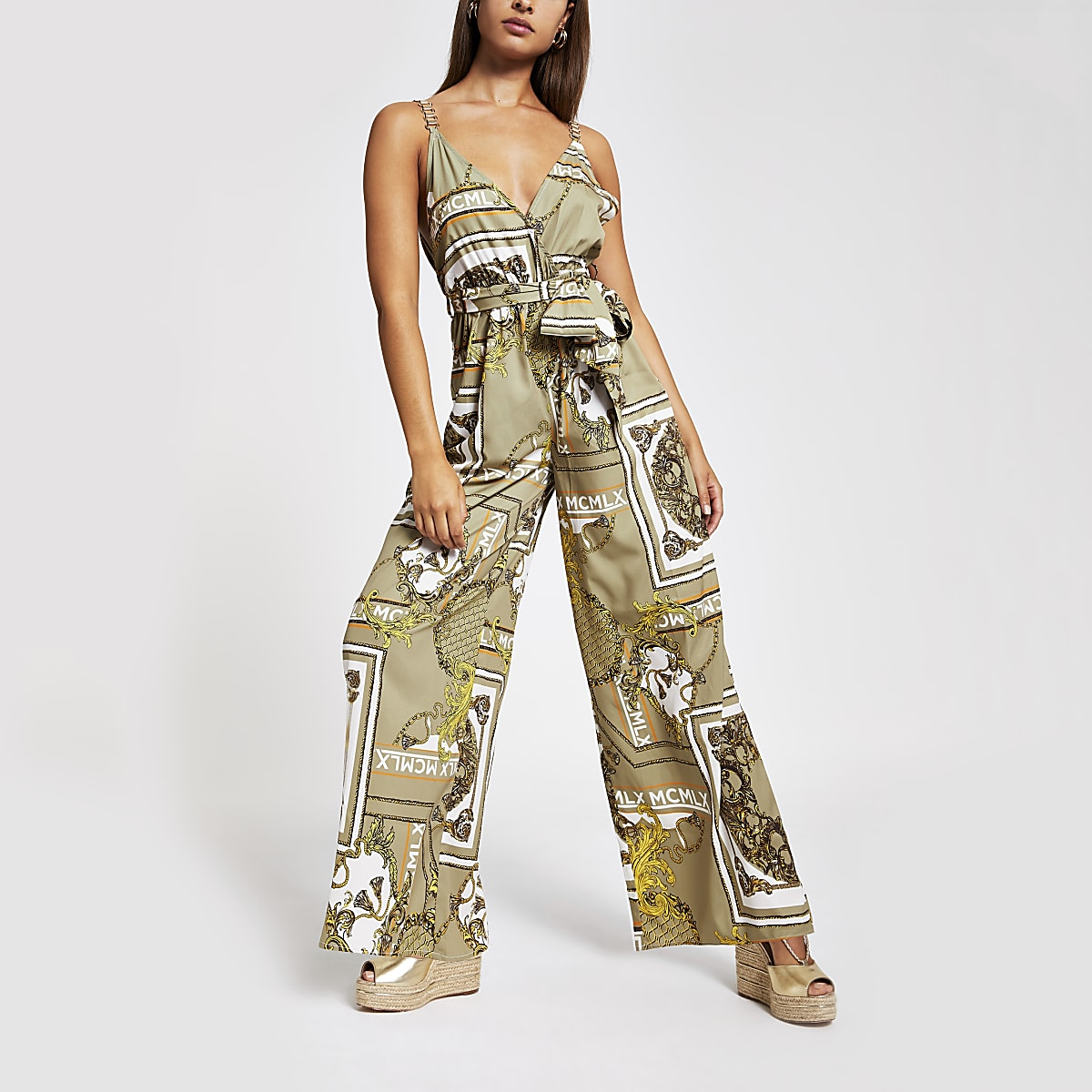Khaki print wide leg jumpsuit