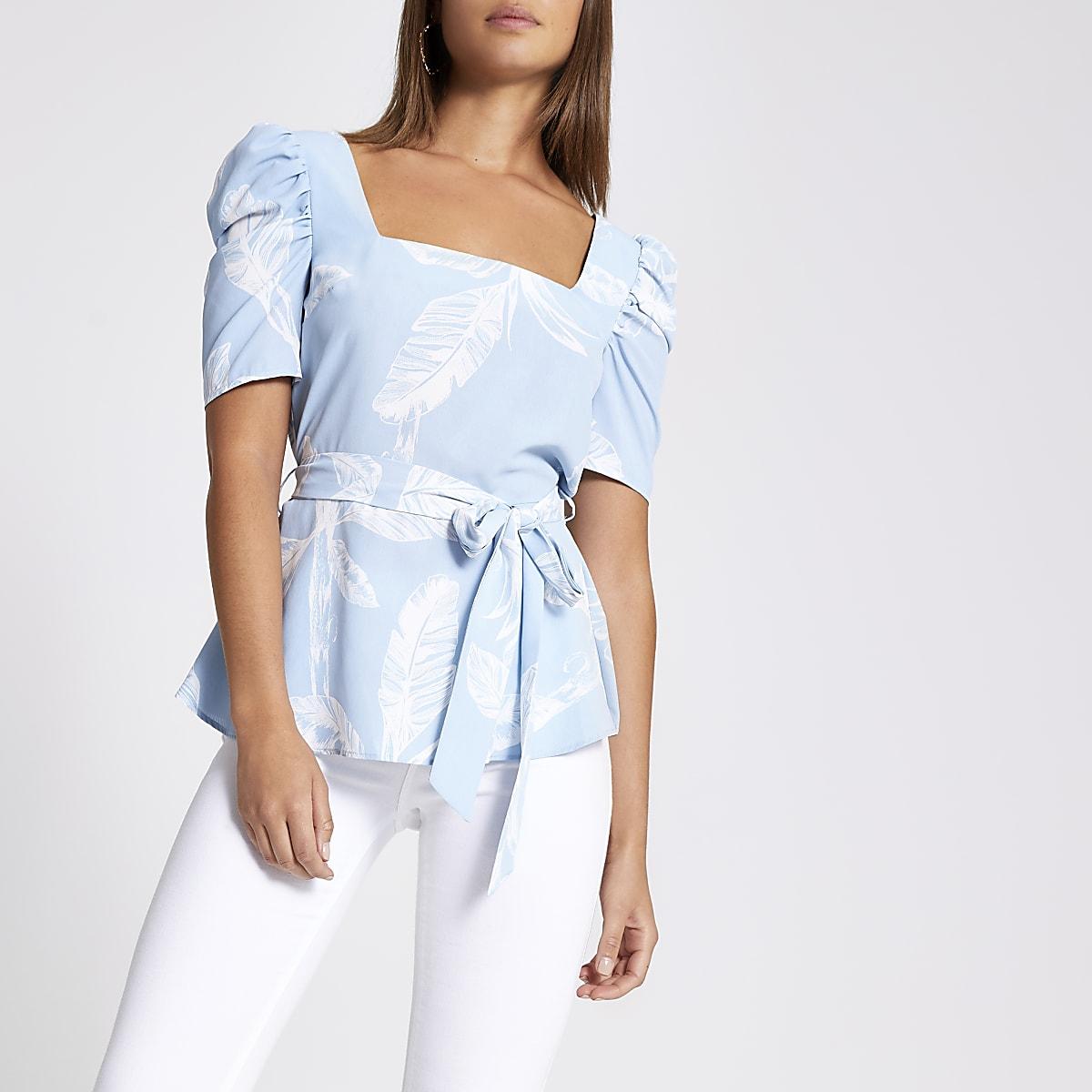 Blue palm print square neck top