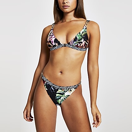 Black jungle print high leg bikini bottoms