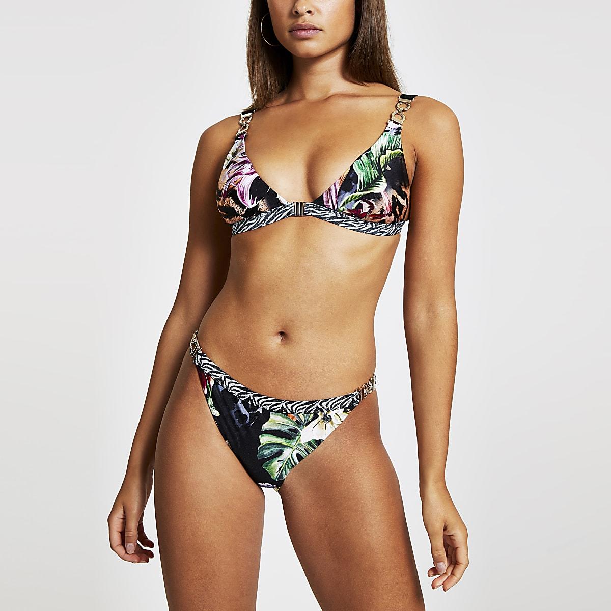 Zwart hoog opgesneden bikinibroekje met jungleprint