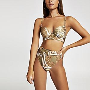 Khaki scarf print plunge bikini top