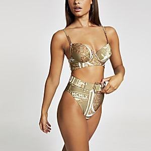 Bas de bikini à imprimé foulard kaki taille haute