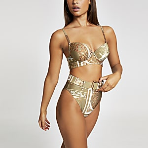 Kaki bikinibroekje met hoge taille en sjaalprint