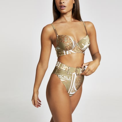 Khaki scarf print high waist bikini bottoms
