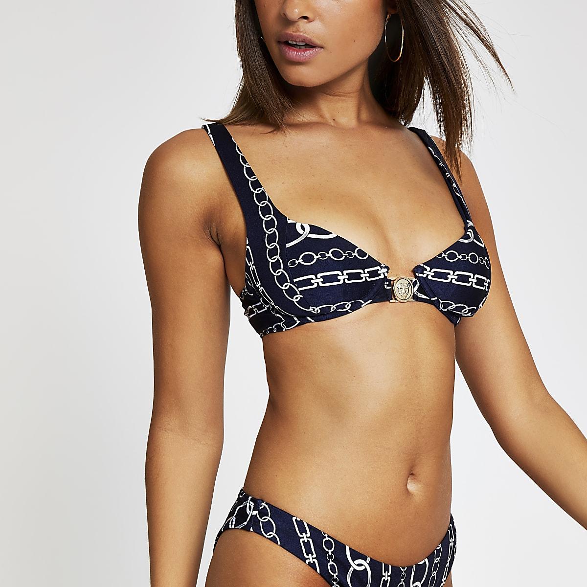 Marineblauwe balconette bikinitop met kettingprint