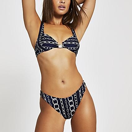 Navy chain print high leg bikini bottoms