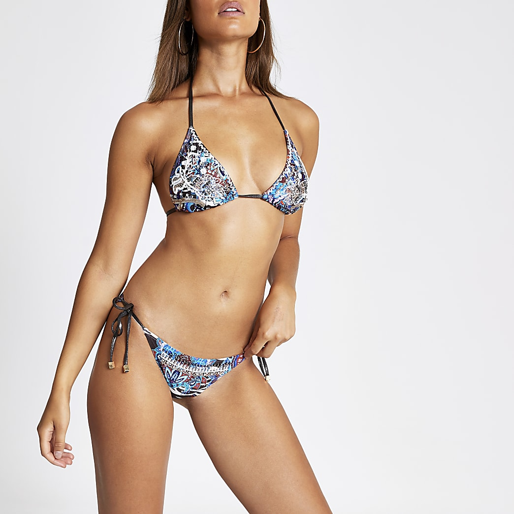 Blauw bikinibroekje met gemende print en strik opzij