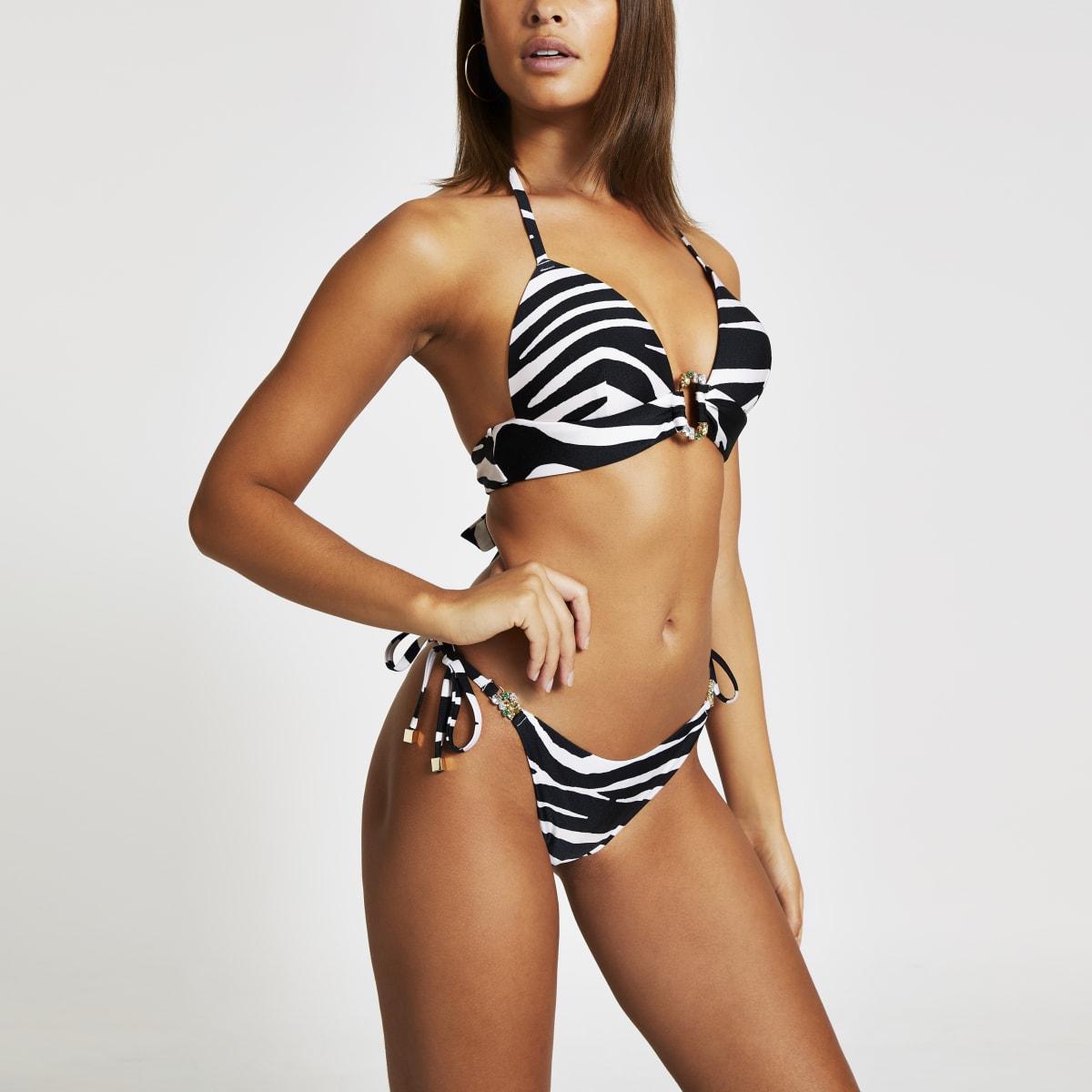 Weiße Bikinihose mit Zebraprint und seitlicher Schnürung