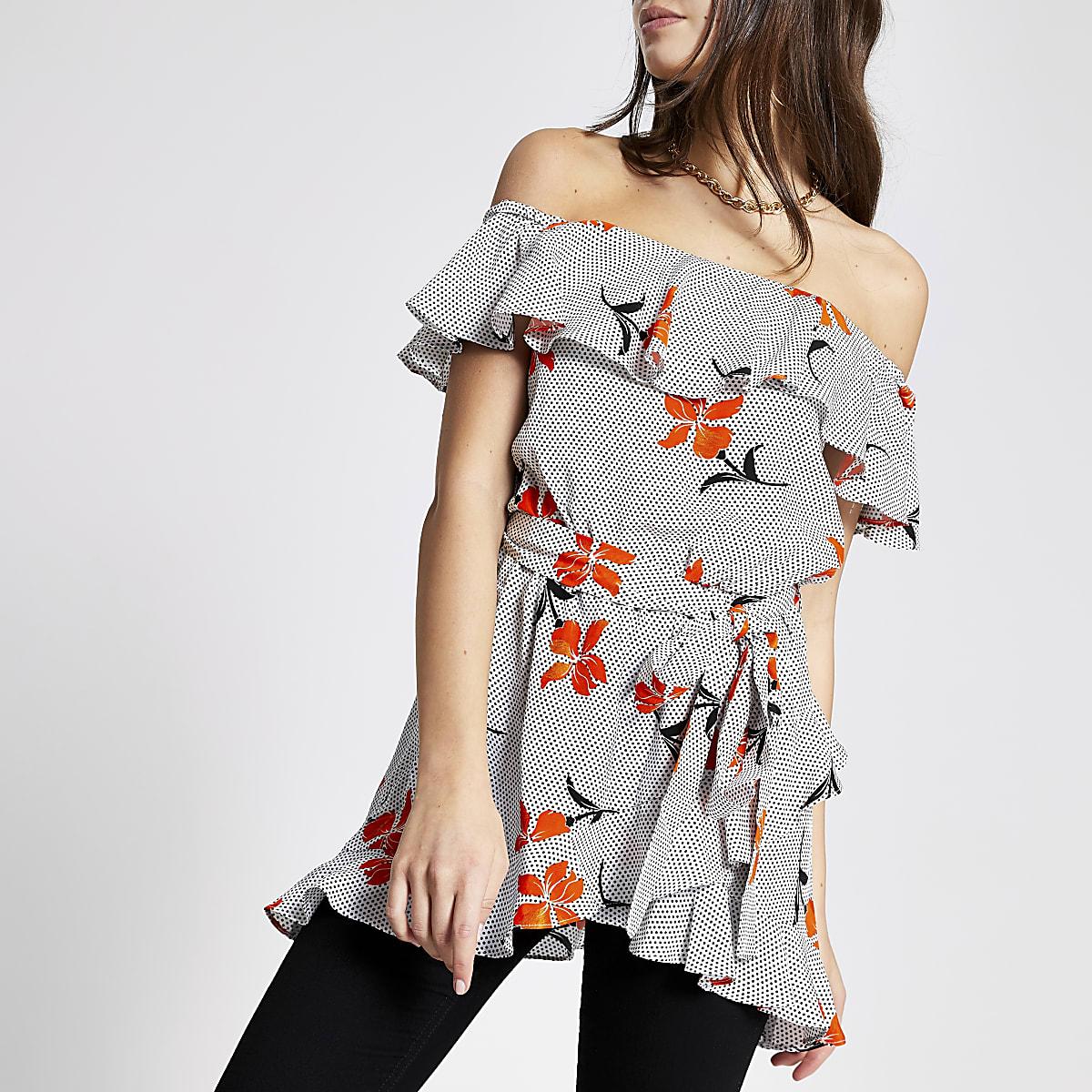 Orange floral bardot top