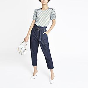 Blue chain print puff sleeve blouse
