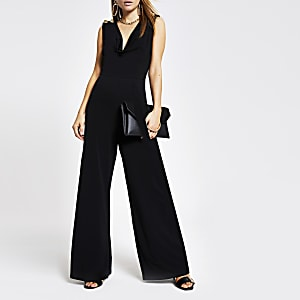 Black cowl neck wide leg jumpsuit
