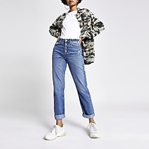 Mid blue high rise mom jeans