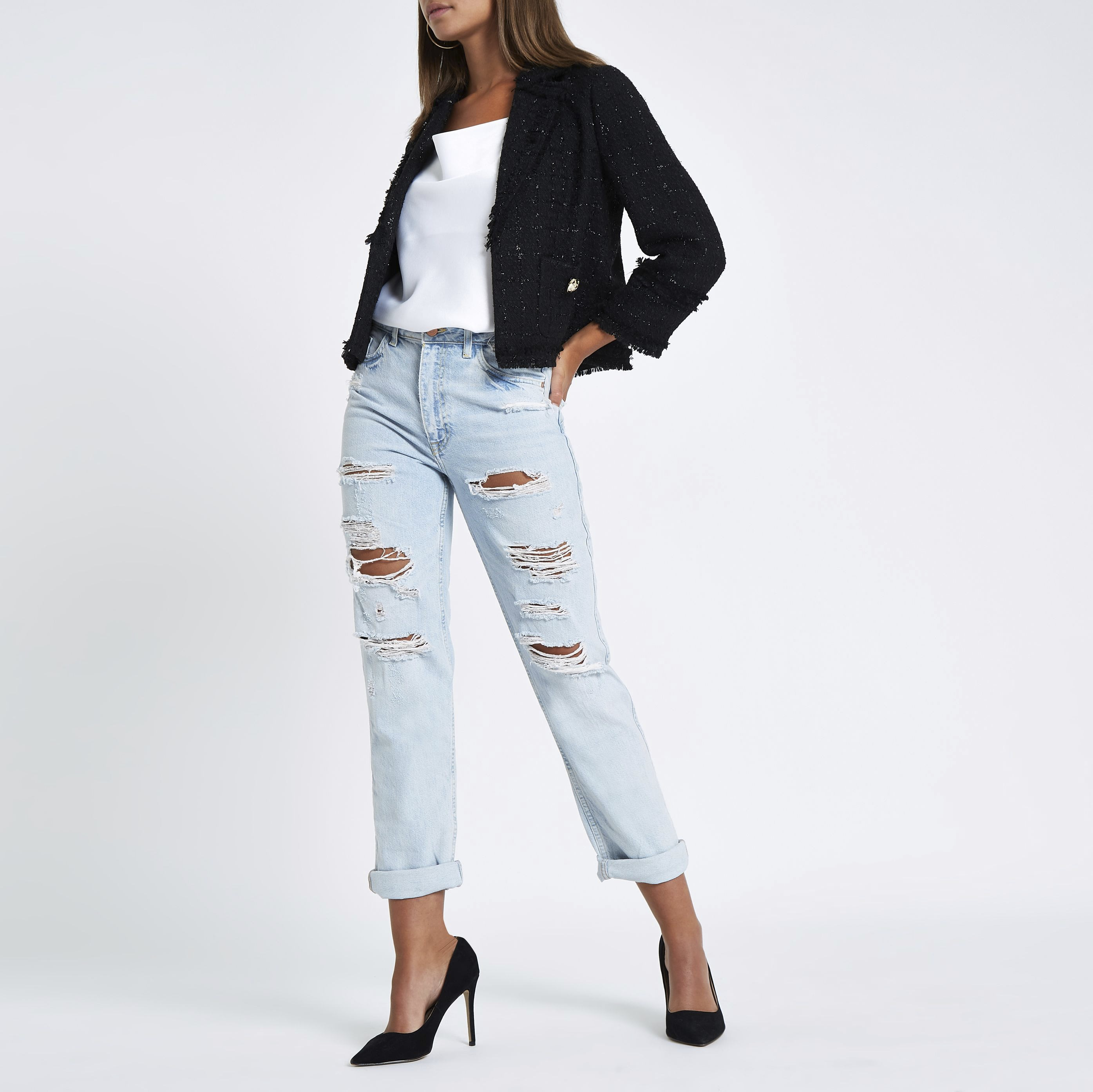 River Island - light  mom ripped jeans - 2