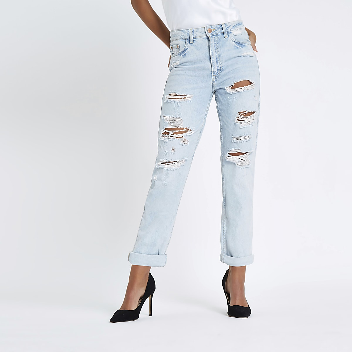Light blue Mom ripped jeans