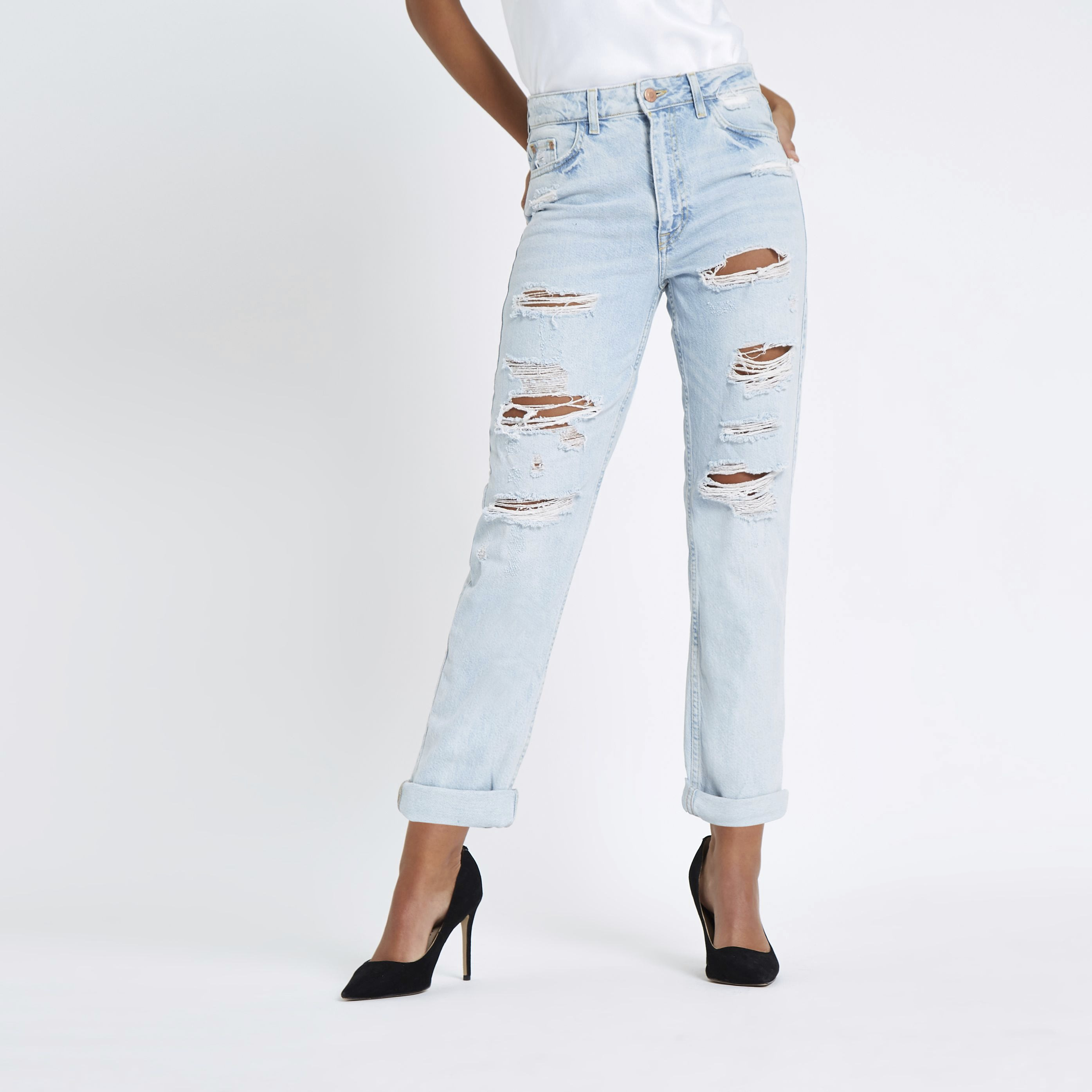 River Island - light  mom ripped jeans - 1