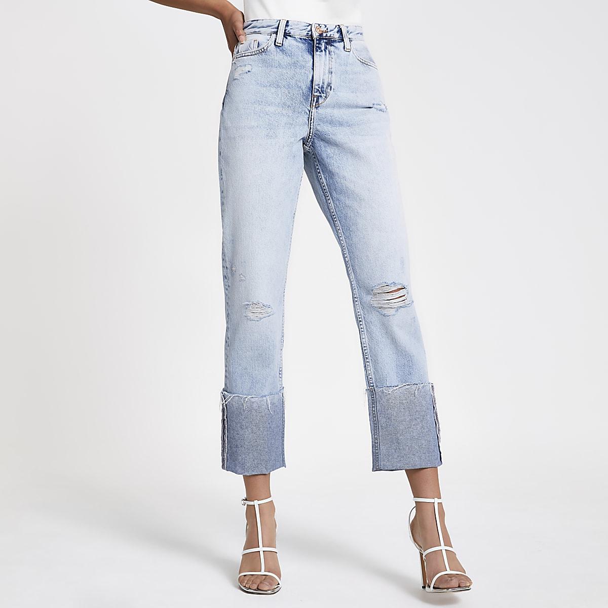 Hellblaue Jeans im Used-Look mit Rollsaum
