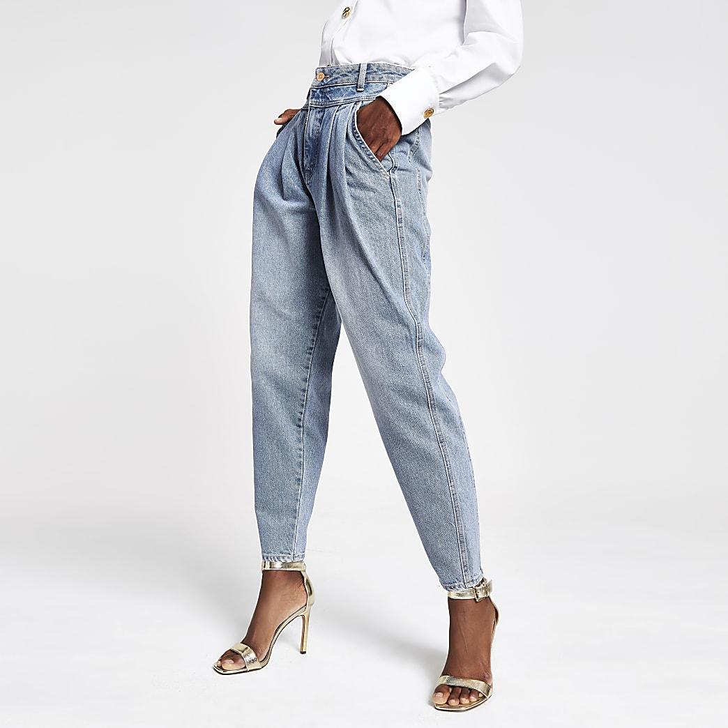 Mid blue barrel leg jeans