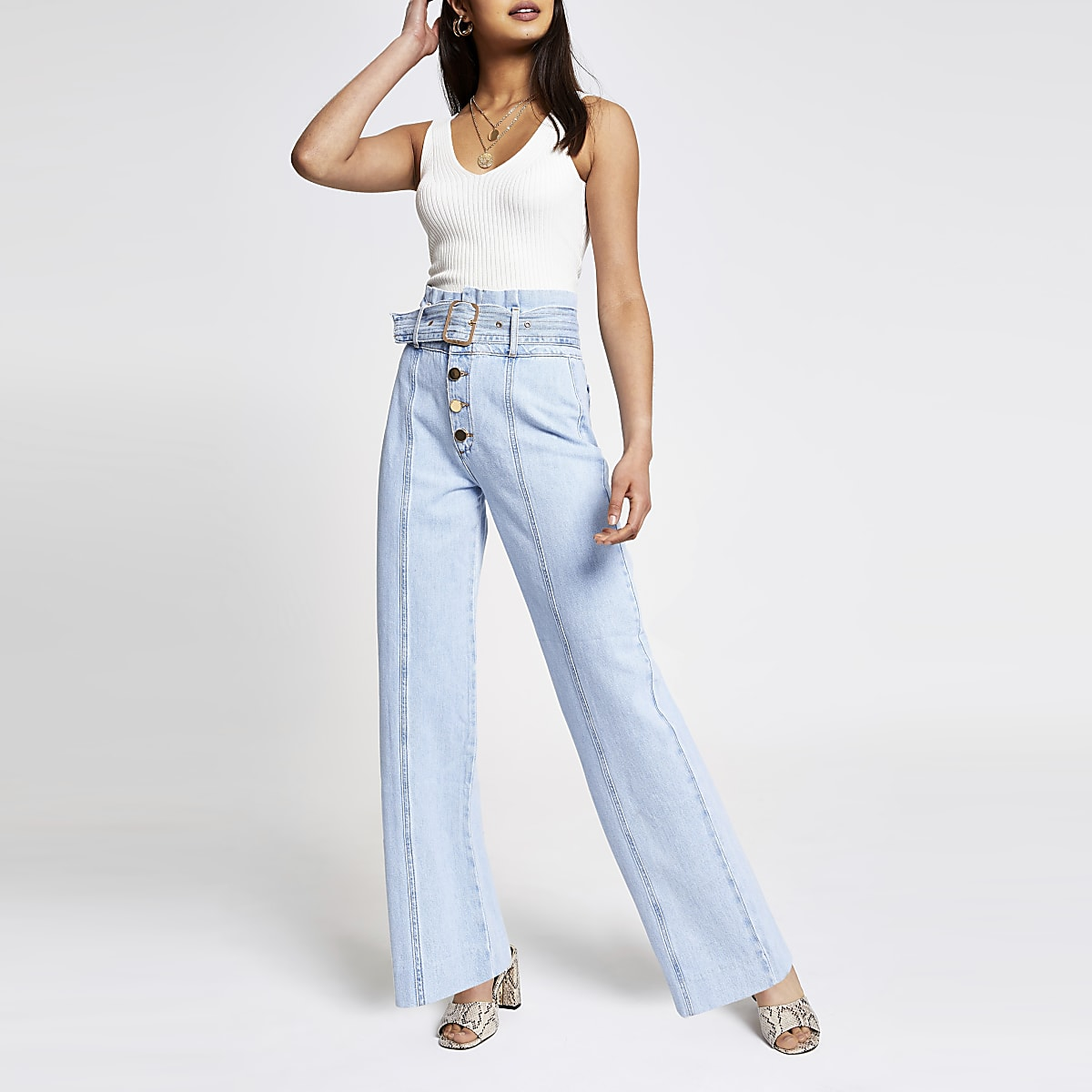 Light blue wide leg belted jeans