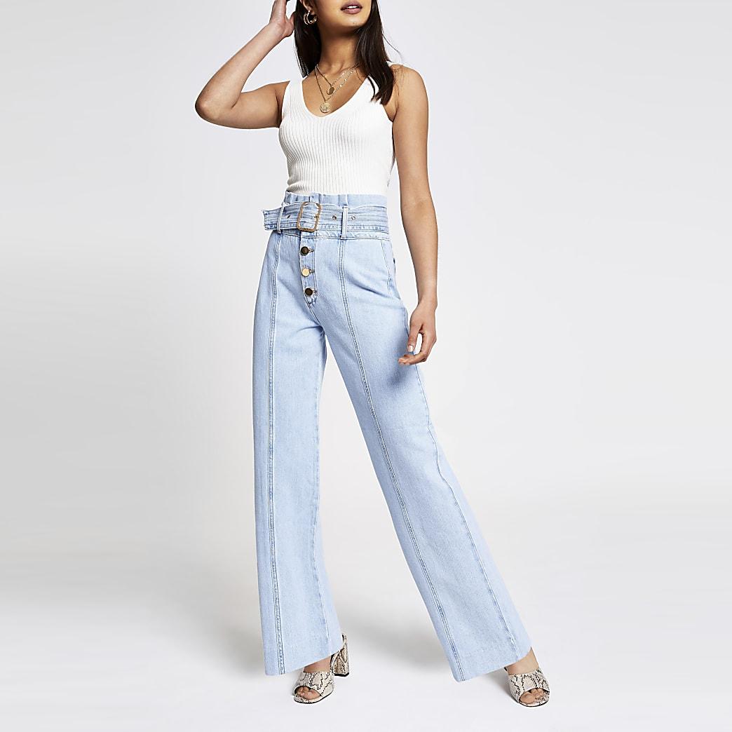Light blue wide leg belted jeans