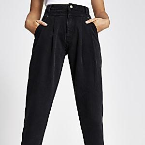 Black barrel leg jeans