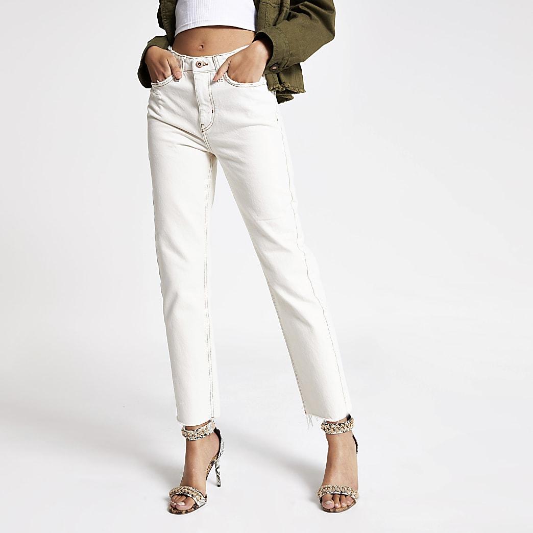 Crème jeans met rechte pijpen