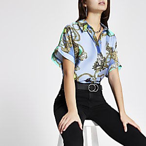 Blue baroque print shirt