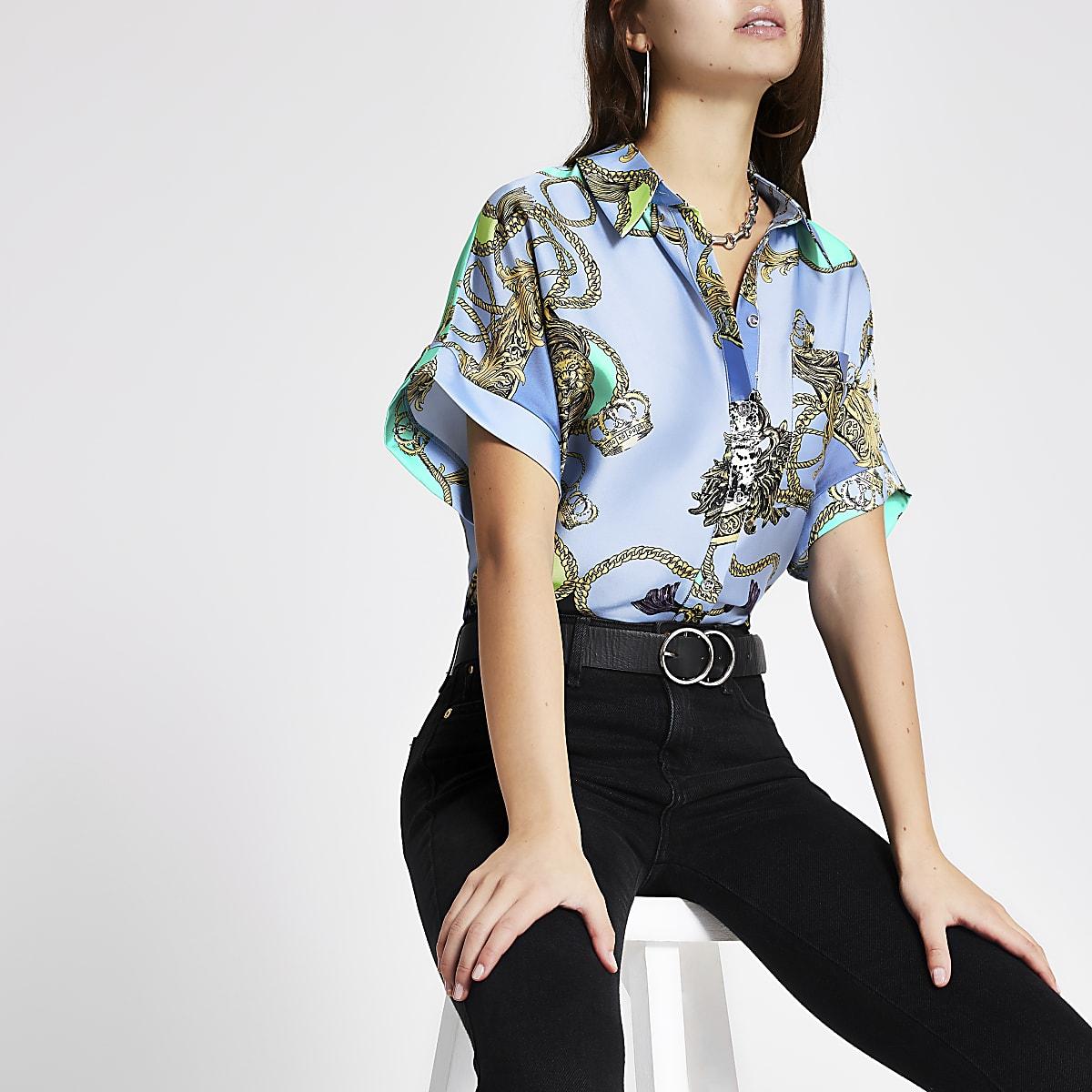 Blue baroque print shirt