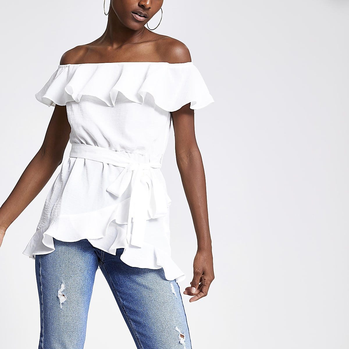 Cream frill bardot top