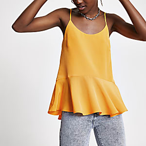 Orange peplum hem cami top