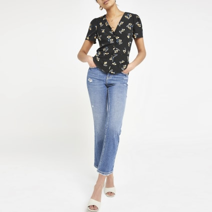Black floral tea top