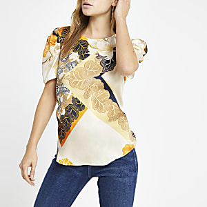 Cream floral print puff sleeve top