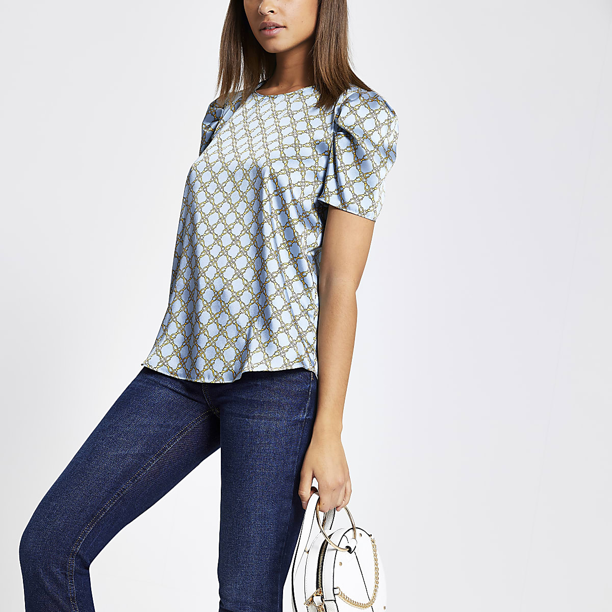Blue chain print puff sleeve top