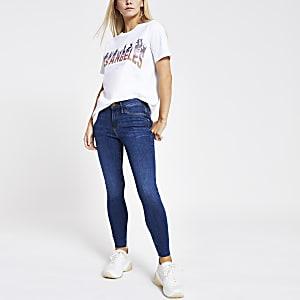 T-shirt blanc à imprimé «Los Angeles» à sequins