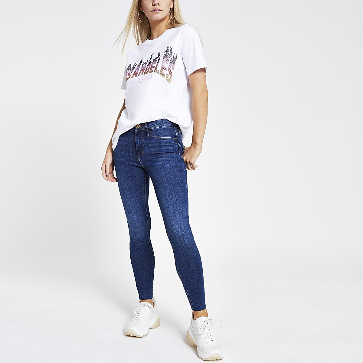 Wit T-shirt met 'Los Angeles'-print en pailletten
